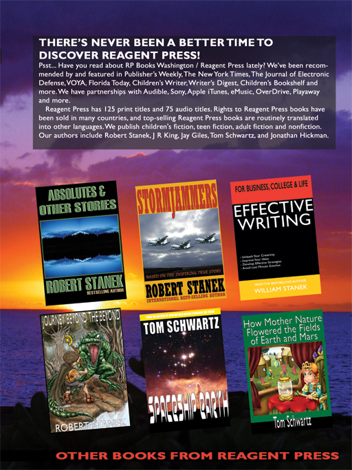 Reagent Press has 500 print, ebook and audio titles. Rights to Reagent Press books have been sold in many countries, and top-selling Reagent Press books are routinely translated into other languages. We publish children's fiction, teen fiction, adult fiction and nonfiction. Our authors include Robert Stanek, J R King, Jay Giles, Tom Schwartz, and Jonathan Hickman.
